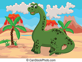 funny dinosaur cartoon - vector illustration of dinosaur...