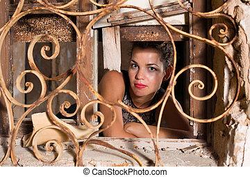 Portrait inside a ruin