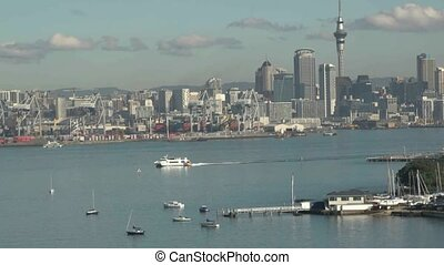 Auckland commercial wharf. - View over boats moored in...