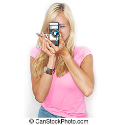 say cheese vintage camera - beautifull woman holds vitage...
