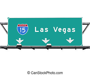15 Freeway to Las Vegas sign isolated.