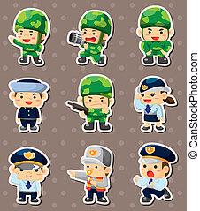 dessin animé, police, soldat, autocollants
