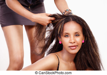 Hair styling - Styling hair pretty woman with hairdresser