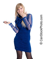 Beautiful blonde in a blue dress with phone
