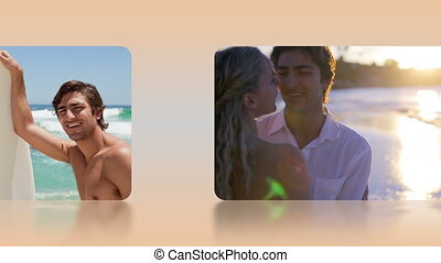 Montage of lovers in honeymoon sele