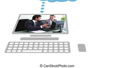 Business people on different device - Animation of business...