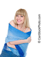 Cheerful blonde wound with a blue scarf
