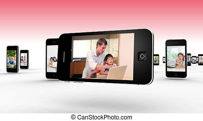 Parents and children using laptops