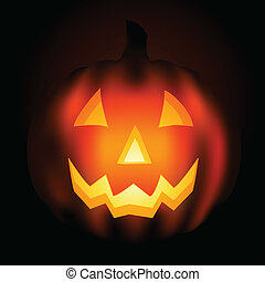 jack o lantern at night - Lit pumpkin carved with...