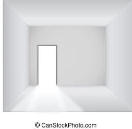 Blank room with opened door
