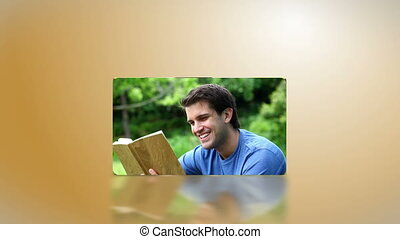 Students reading in a park - Animation withStudents reading...