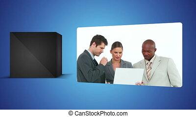 Business videos against white backg