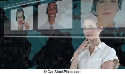 Woman choosing call center agents on digital screen
