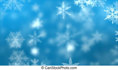 Snowflakes against blue background in motion
