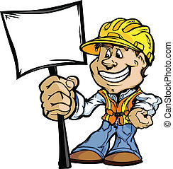 Happy Construction Contractor with Sign Cartoon Vector Image...