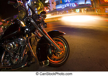 motorcycle south beach night scene - motorcycle on ocean...