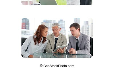 Business people using a laptop