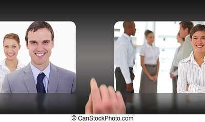Montage of business people selected by a hand against black...