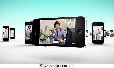 Business people working - Animation with videos on...