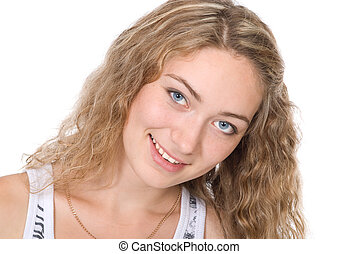 Portrait of beautiful young blonde with a smile