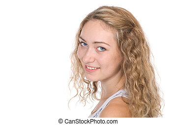 Portrait of beautiful young blonde with a lovely smile