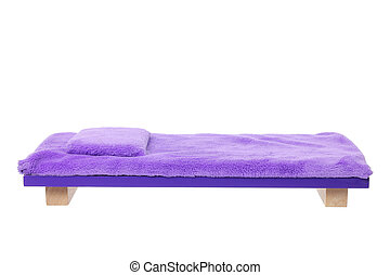 Miniature Wooden Bed on White Background