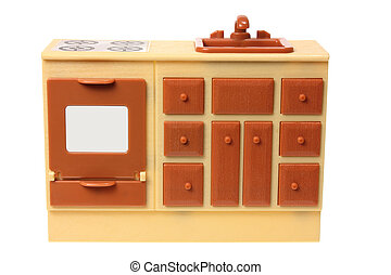 Miniature Kitchen Counter on White Background