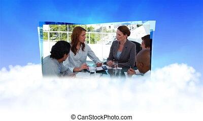 Businesswomen managing their team - Animation of...