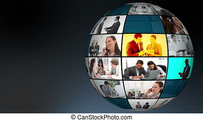 Globe of companys daily life videos with copy space
