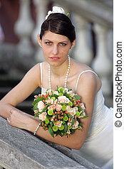 Pretty bride in white