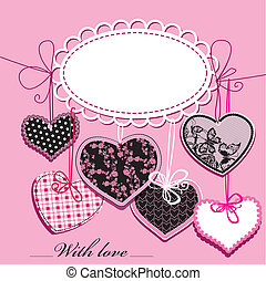 Pink and black Hearts - card - holiday background with black...