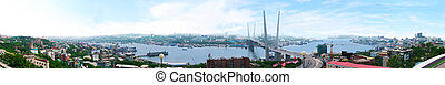 Vladivostok. Panorama of the Golden Horn and the new...