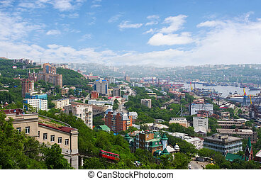 Vladivostok. Panorama of the Golden Horn