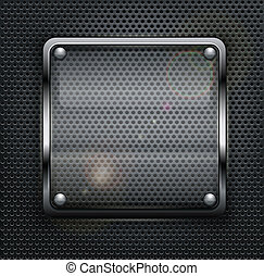 Square web button on dark metallic mesh background, vector...
