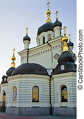 Orthodox temple against the evening sky