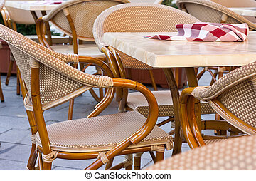 Restaurant terrace - Chaires and tables on terrace in summer