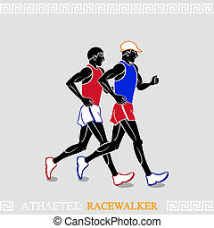 Athlete Racewalkers - Greek art stylized racewalkers at the...