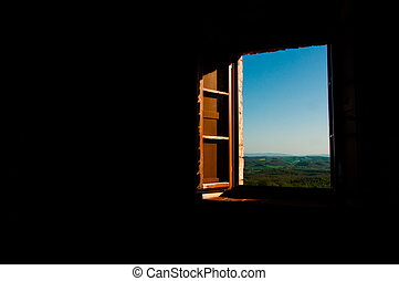 Looking through the window at the fileds of Tuscany - A...