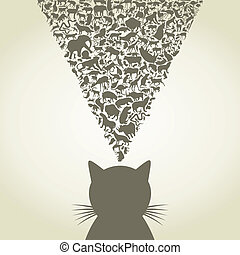 Cat6 - The cat thinks of animals. A vector illustration