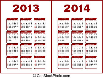 Calendar 2013,2014 - Calendar for 2013,2014Red letters and...