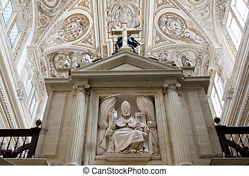 Bishop Sculpture in Cordoba Cathedral - Bishop holding keys...