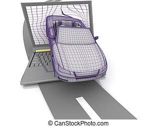 abstract picture of auto, driving out from the screen of notebook