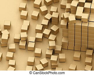 damaged assembling of gold blocks