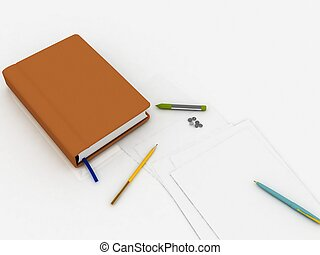 Notebook with written subject matters and a paper