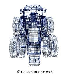 tracteur, 3D, modèle