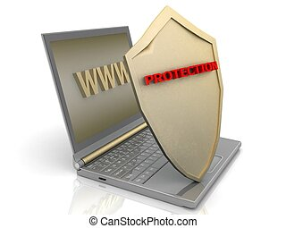 Notebook with shield - Internet security concept