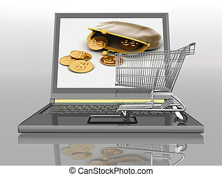 Shopping-cart and laptop isolated Conception of purchase of...