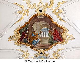 Fresco in Sankt Peter church in Munich