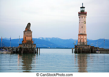 Harbor Lindau at the Lake Constance - Entrance to the harbor...