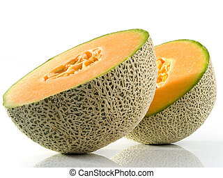 Cantaloupe - Fresh Cantaloupe Cut In Half